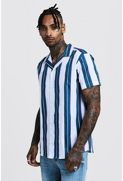 Pink Vertical Stripe Short Sleeve Revere Shirt