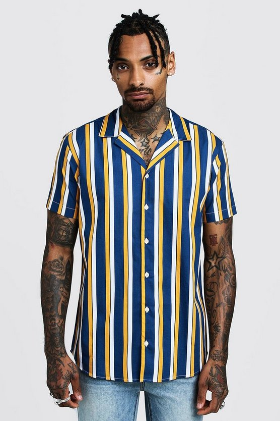 Mens Mustard Vertical Stripe Short Sleeve Revere Shirt