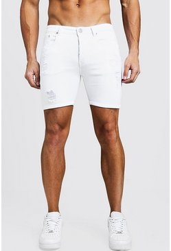Mens White Skinny Fit Denim Shorts With Light Distressing