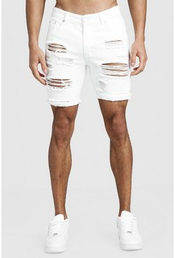 Mens White Slim Fit Distressed Turn-Up Denim Shorts
