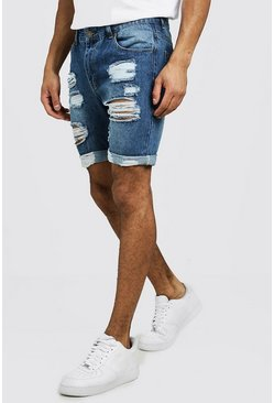 Herr Mid blue Slim Fit Distressed Turn-Up Denim Shorts