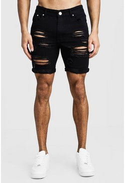 Mens Black Slim Fit Distressed Turn-Up Denim Shorts