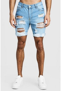 Herr Pale blue Slim Fit Distressed Turn-Up Denim Shorts