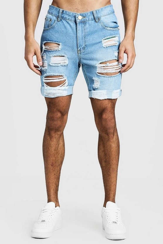Mens Pale blue Slim Fit Distressed Turn-Up Denim Shorts