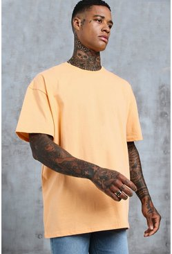 Mens Peach Oversized Crew Neck T-Shirt