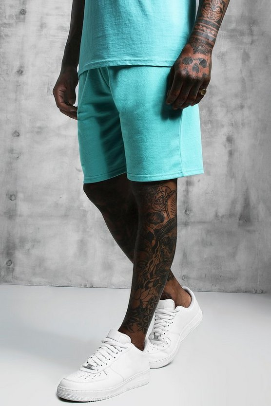 Mens Turquoise Jersey Mid Length Shorts