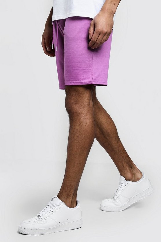 Mens Violet Jersey Mid Length Shorts