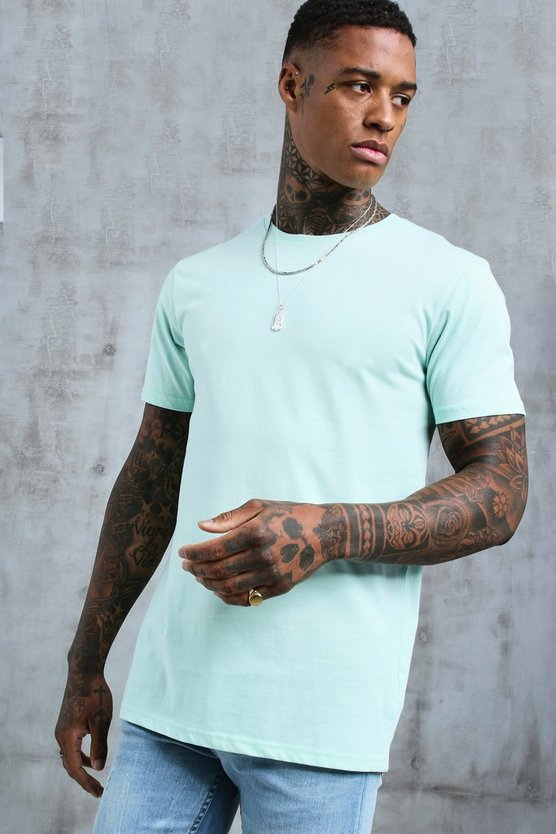 Mens Mint Longline Fitted T-Shirt
