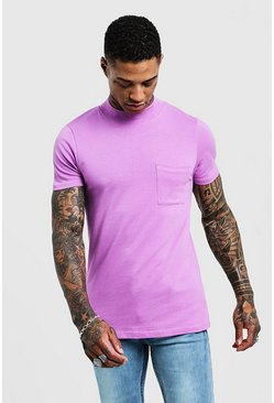 Herr Violet Muscle Fit T-Shirt With Extended Neck