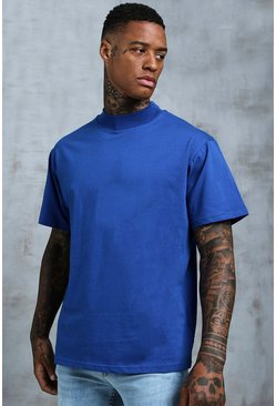 Mens Cobalt Loose Fit T-Shirt With Extended Neck