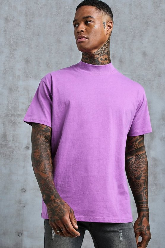 Mens Violet Loose Fit T-Shirt With Extended Neck