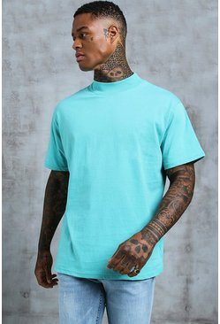 Mens Turquoise Loose Fit T-Shirt With Extended Neck