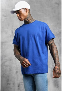 Mens Cobalt Loose Fit Grown On Sleeve T-Shirt