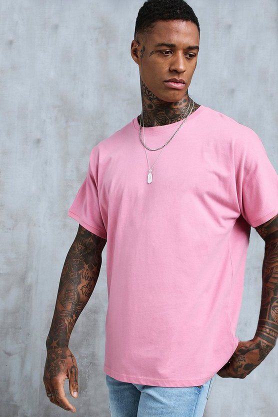 Mens Bubblegum Loose Fit Grown On Sleeve T-Shirt