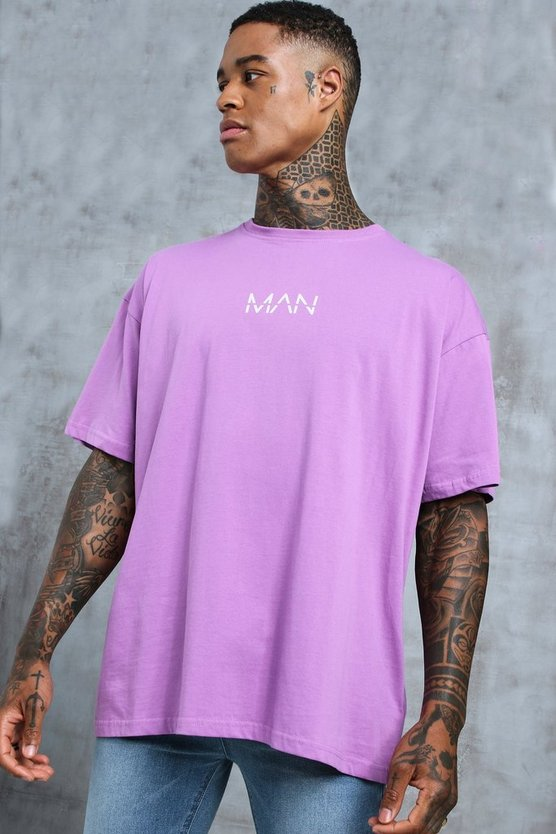 Violet Oversized Original MAN Print T-Shirt