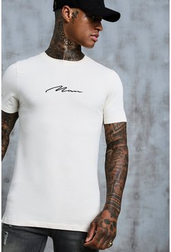 Mens Ecru MAN Signature Embroidered Muscle Fit T-Shirt