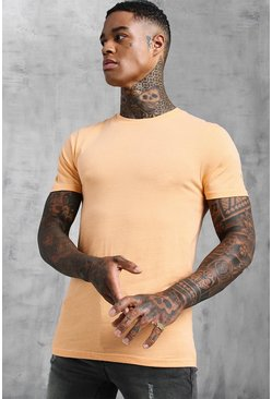 Mens Peach Muscle Fit Crew Neck T-Shirt