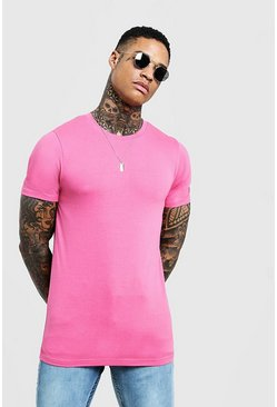 Mens Bubblegum Muscle Fit Crew Neck T-Shirt