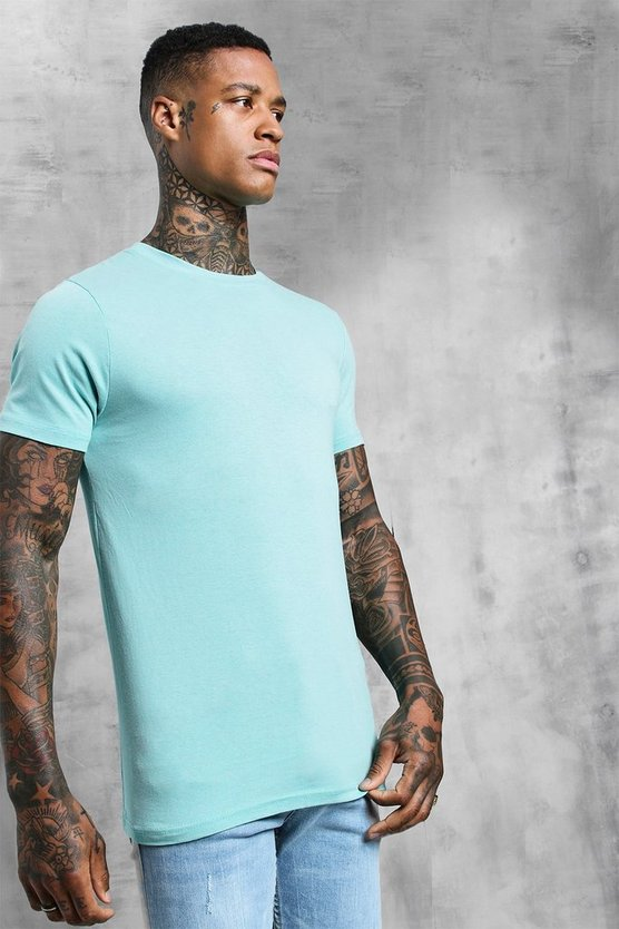 Mens Turquoise Muscle Fit Crew Neck T-Shirt