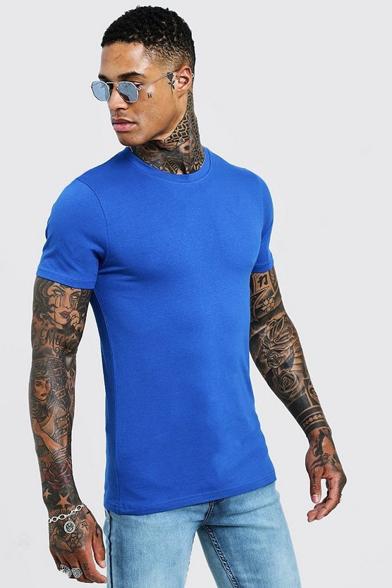 Mens Cobalt Muscle Fit Crew Neck T-Shirt
