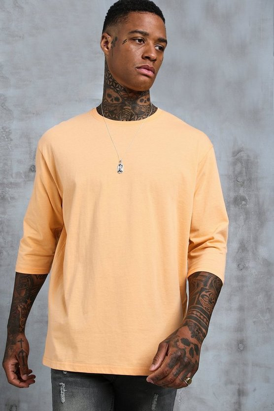 Mens Peach Loose Fit 3/4 Sleeve T-Shirt