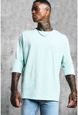 Mens Mint Loose Fit 3/4 Sleeve T-Shirt