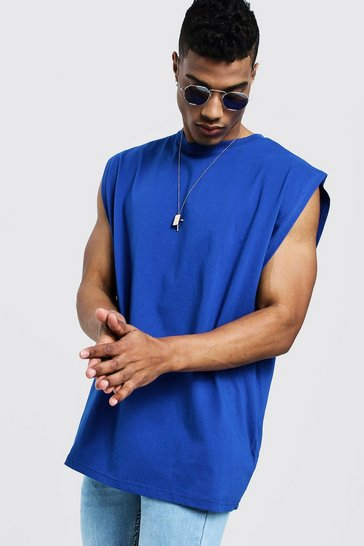 Mens Cobalt Oversized Boxy Fit Drop Arm Hole Tank