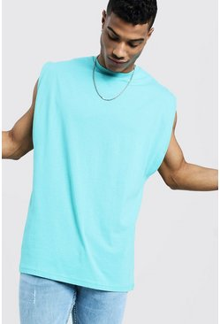 Mens Turquoise Oversized Boxy Fit Drop Arm Hole Vest