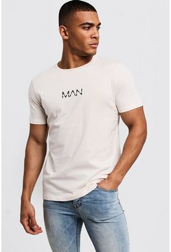 Mens Ecru Original MAN Logo Print T-Shirt
