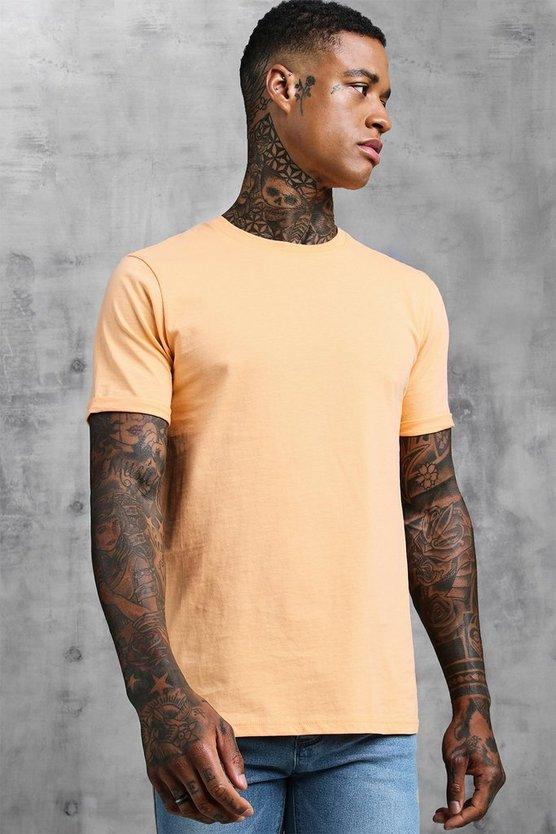 Mens Peach Crew Neck T-Shirt With Rolled Sleeves