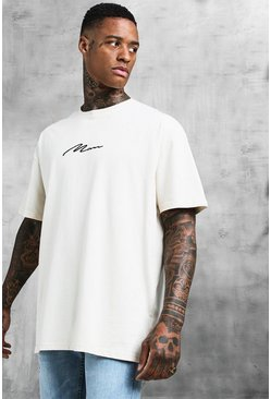 Herr Ecru Oversized MAN Signature Embroidered T-Shirt