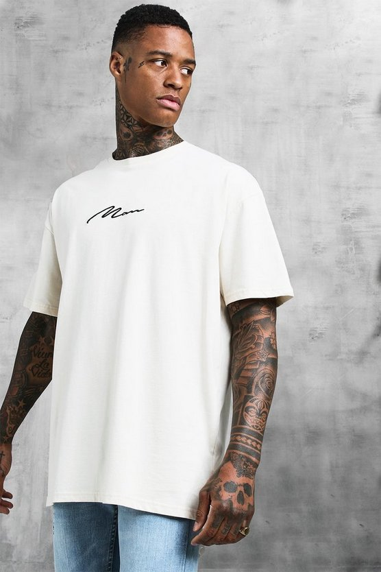 Mens Ecru Oversized MAN Signature Embroidered T-Shirt