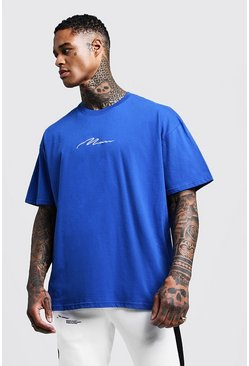 Mens Cobalt Oversized MAN Signature Embroidered T-Shirt