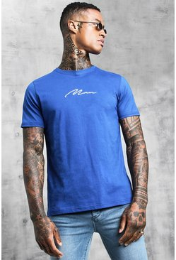 Mens Cobalt Man Signature Embroidered T-Shirt