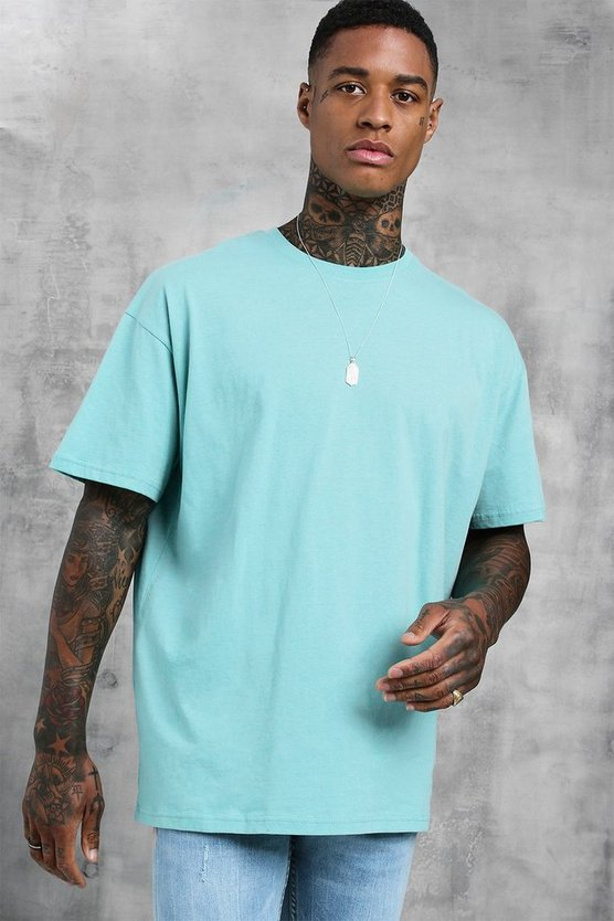 Mens Turquoise Oversized Crew Beck T-Shirt