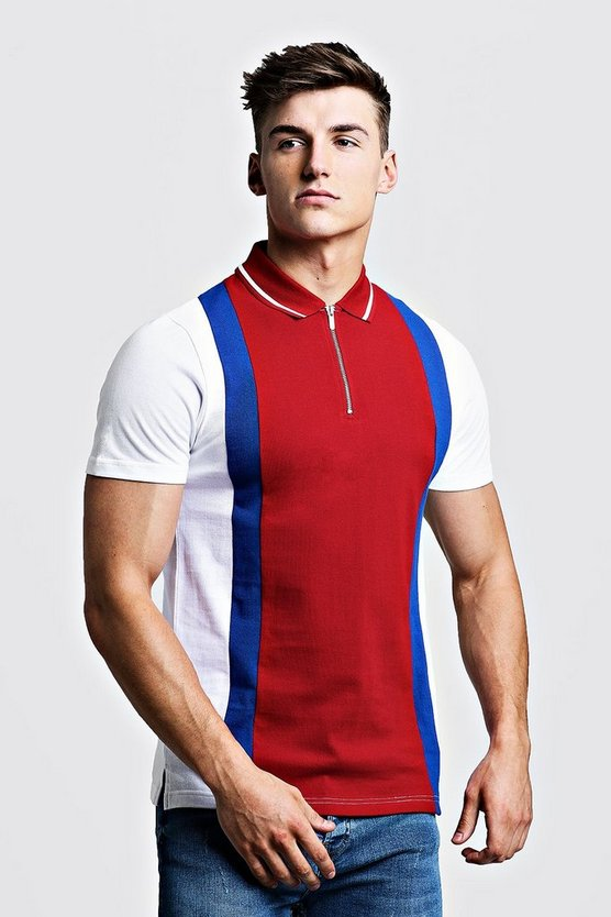 Mens Red Colour Block Pique Zip Polo