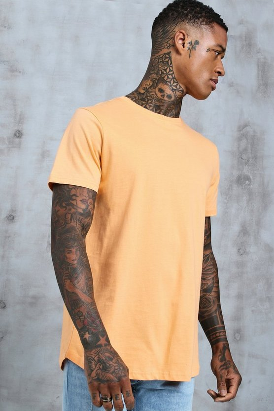 Mens Peach Short Sleeve Longline T-Shirt With Curve Hem