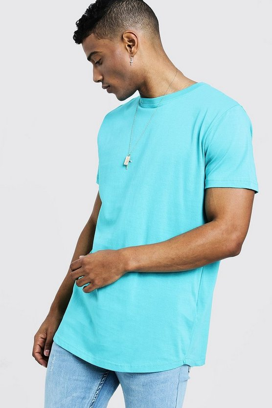 Mens Turquoise Short Sleeve Longline T-Shirt With Curve Hem