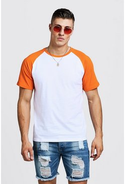 Kurzärmeliges Raglan T-Shirt in Kontrastfarben, Orange, Damen