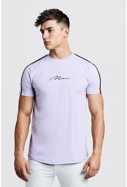 Mens Lilac MAN Signature Curved Hem T-Shirt With Tape Detail
