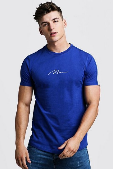 Mens Cobalt MAN Signature Curved Hem T-Shirt With Tape Detail