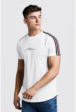 Mens Ecru MAN Signature Curved Hem T-Shirt With Tape Detail