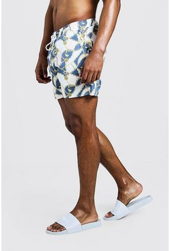 Mens Blue Chain Print Mid Length Swim Short
