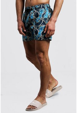 Mens Teal Paisley Chain Print Mid Length Swim Short