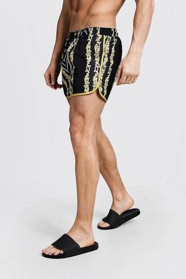 Mens Black Chain Print Runner Swim Short