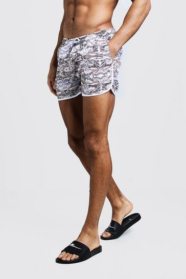 Mens White Animal Chain Print Runner Swim Short