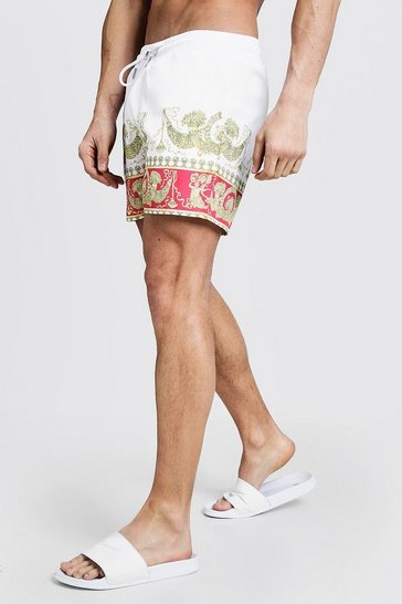 Mens White Baroque Print Mid Length Swim Short