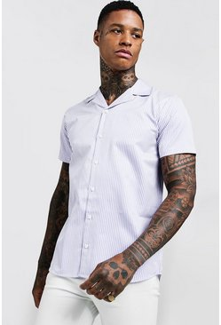 Mens Lilac Short Sleeve Stripe Revere Shirt