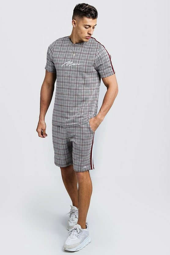 Mens Red MAN Signature Check T-Shirt & Short Set