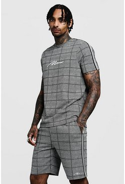 Mens Black MAN Signature Check T-Shirt & Short Set With Tape